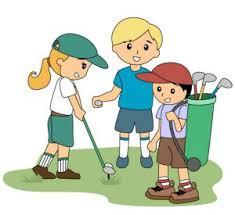 3 kids golfing